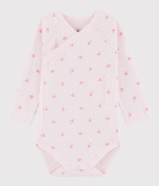 Body incrociato a manica lunga bebè femmina rosa Vienne / bianco Multico