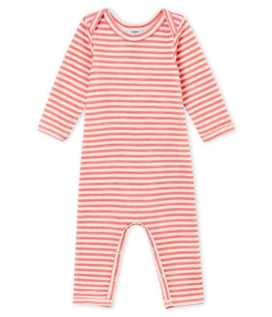 Body con gambe lunghe bebé maschio rosa Cheek / bianco Marshmallow