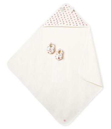 Cofanetto asciugamano quadrato da bagno e babbucce bebè in BE e a costine bianco Marshmallow / rosa Gretel