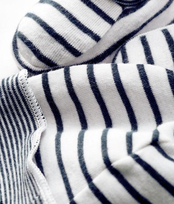 Confezione cuffietta e babbucce bebè maschio a costine lotto .