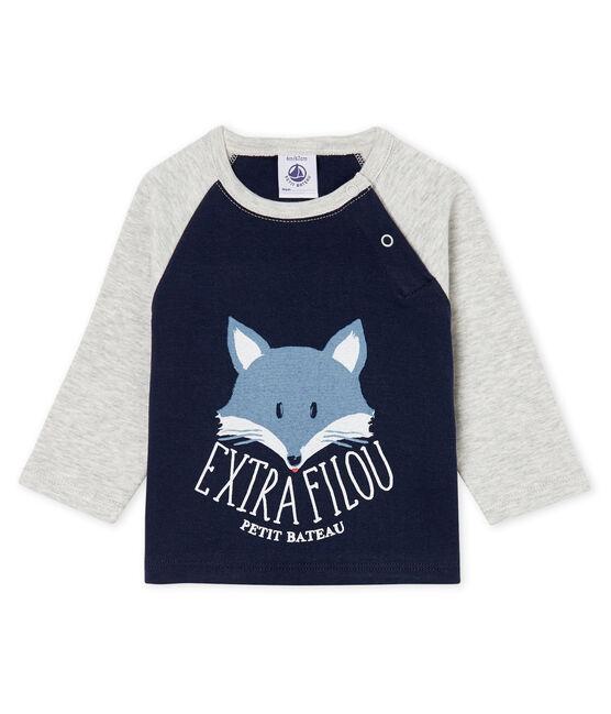 T-shirt a manica lunga bebè maschio blu Smoking / grigio Beluga