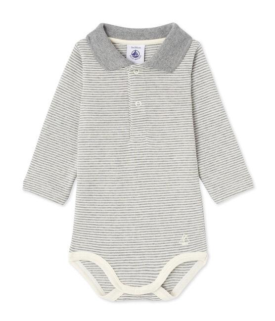 Body bebé maschio in millerighe grigio Subway / beige Coquille
