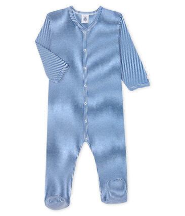Tutina a righe blu bebé a costine blu Pablito / bianco Marshmallow