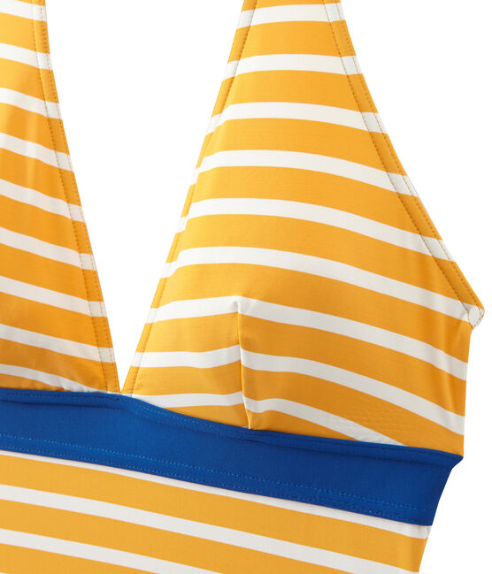 Costume da bagno donna intero a righe arancione Fusion / bianco Marshmallow
