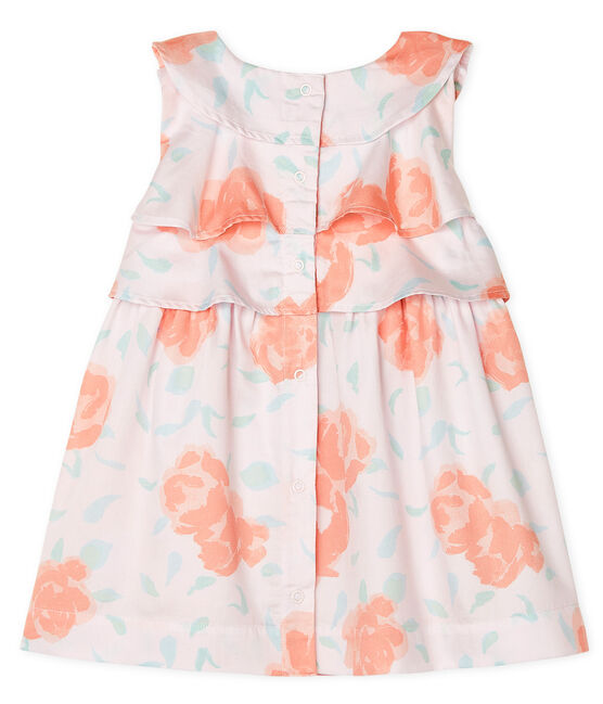Abito in raso fantasia bebè femmina rosa Vienne / bianco Multico