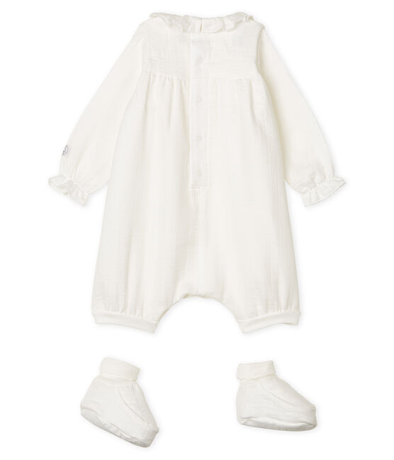 Completo tutine e babbucce bebè in tessuto per fasce bianco Marshmallow