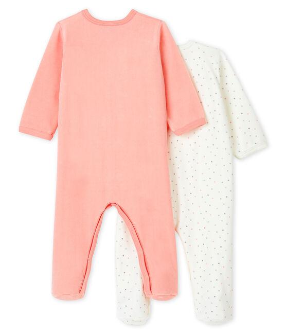Confezione da 2 tutine pigiama bebè femmina in ciniglia lotto .