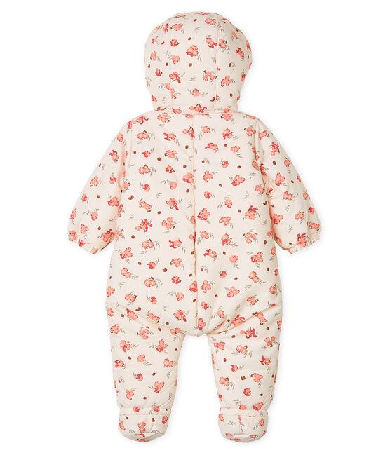 Tutina da pilota in microfibra fantasia bebè femmina rosa Fleur / bianco Multico