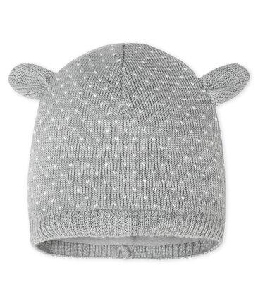 Cappellino bebè unisex foderato in pile grigio Subway / bianco Marshmallow