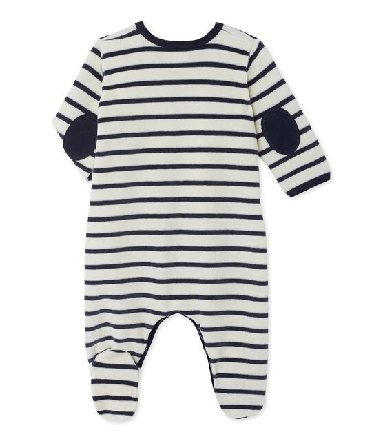 Tutina pigiama bebè in ciniglia beige Coquille / blu Smoking
