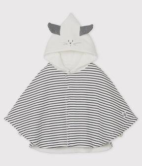 Mantella a righe con cappuccio bebè in cotone biologico bianco Marshmallow / blu Smoking