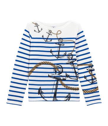 Marinière creativa per bambino bianco Marshmallow / blu Perse