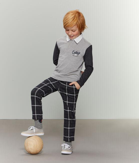 Pantalone in maglia a scacchi da bambino nero City / blu Smoking