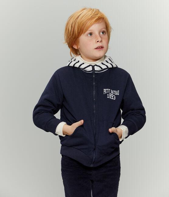 Felpa bambino reversibile con zip blu Smoking