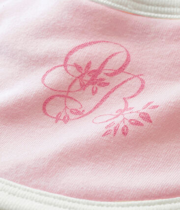 Bavaglino per bebé unisex a costina 1x1 tinta unita rosa Vienne