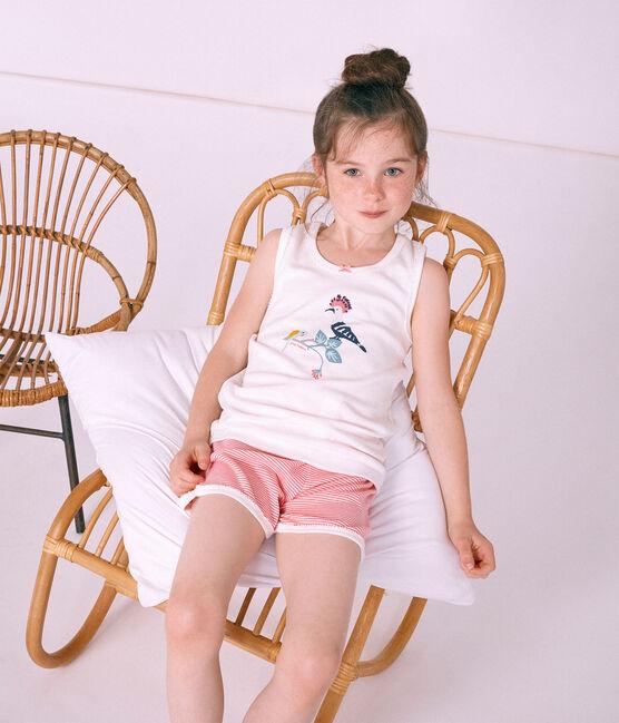 Pigiama corto bambina a costine rosa Cupcake / bianco Marshmallow