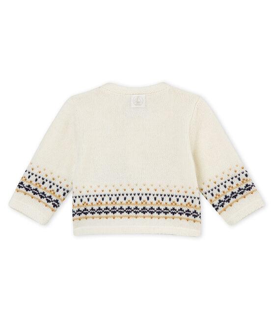 Cardigan tricot jacquard per bebé maschio bianco Marshmallow