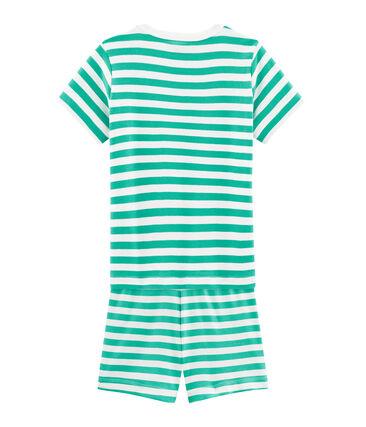 Pigiama corto bambino a costine verde Esperanza / bianco Marshmallow