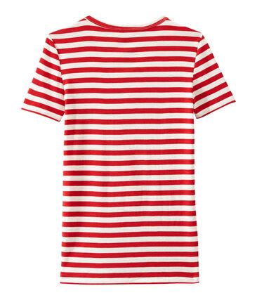 T-shirt donna scollo V in costina originale 1x1 rigata rosso Terkuit / bianco Marshmallow