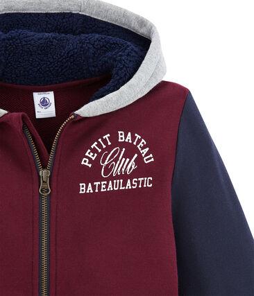 Felpa con zip in molleton e sherpa per bambino rosso Ogre / bianco Multico