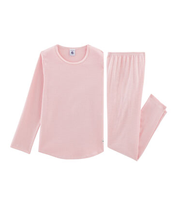 Pigiama bambina a costine rosa Charme / bianco Marshmallow
