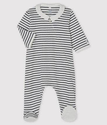 Tutina pigiama bebè a costine con zip bianco Marshmallow / blu Smoking