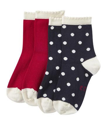 Lotto di 2 paia di calze bambina