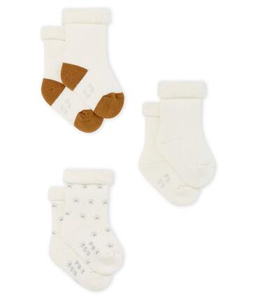 Confezione da tre paia di calzini bebè in spugna lotto .