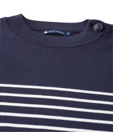 pull marin uomo a righe blu Smoking / bianco Lait