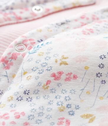 Gilè smanicato reversibile bebè femmina bianco Marshmallow / bianco Multico