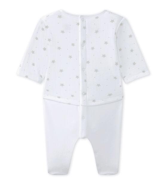 Tutina per bebé unisex in doppio tessuto bianco Ecume / marrone Shitake