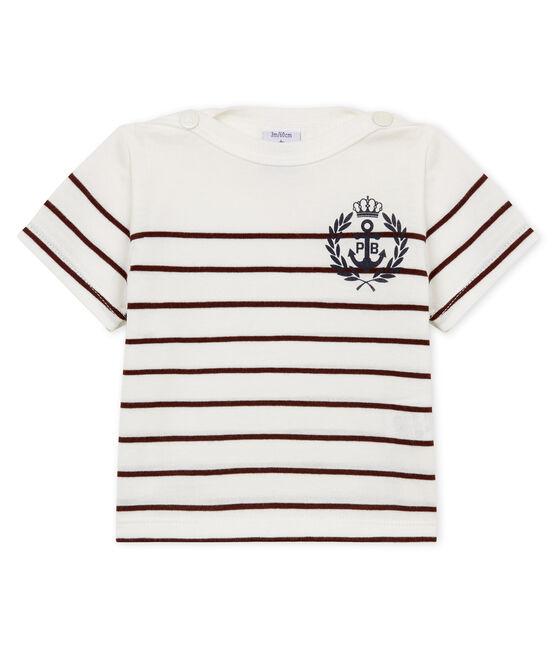 T-shirt mc a righe bebè maschietto bianco Marshmallow / rosso Vino