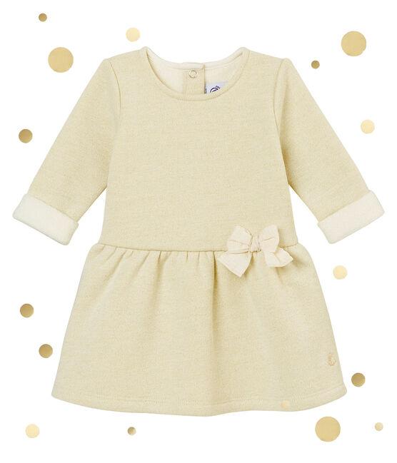 Abito in molleton per bebé femmina bianco Marshmallow / giallo Dore