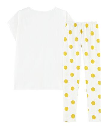 Pigiama ragazza a costine bianco Marshmallow / giallo Ble