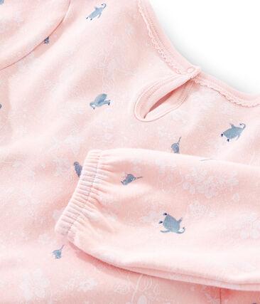 Camicia da notte a manica lunga bambina in molleton rosa Minois / bianco Multico