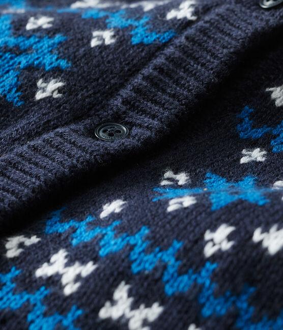 Cardigan bebè maschietto in lana e cotone blu Smoking / bianco Multico