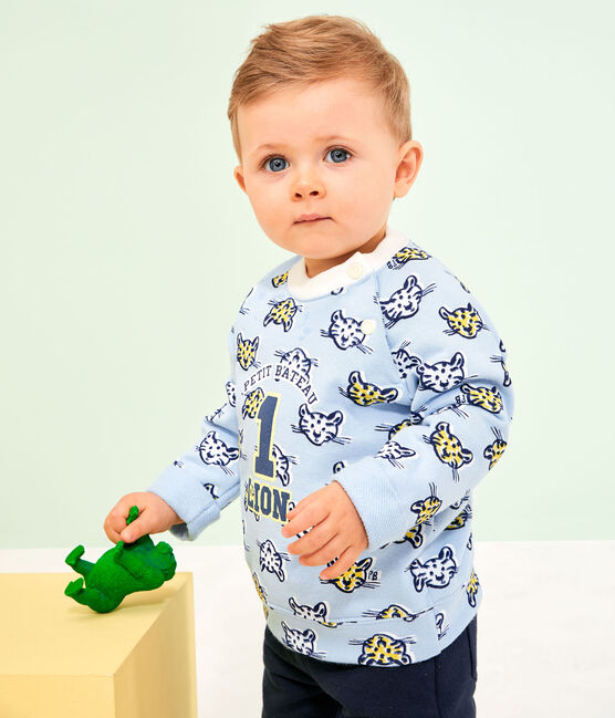 Felpa bebè maschietto in molleton blu Jasmin / bianco Multico