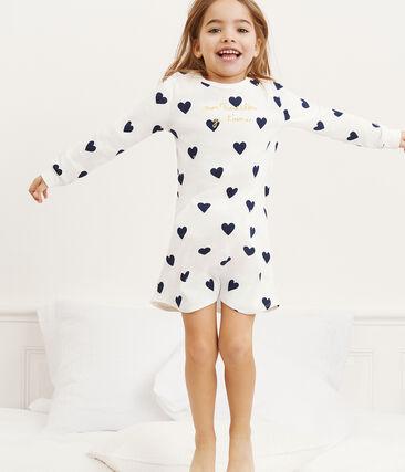 Camicia da notte bambina a costine bianco Marshmallow / blu Medieval