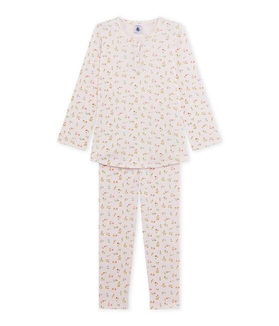 Pyjama fille à imprimé petites fleurs rosa Vienne / bianco Multico