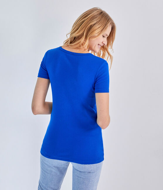 T-shirt donna scollo a V In costina originale 1X1 blu Perse