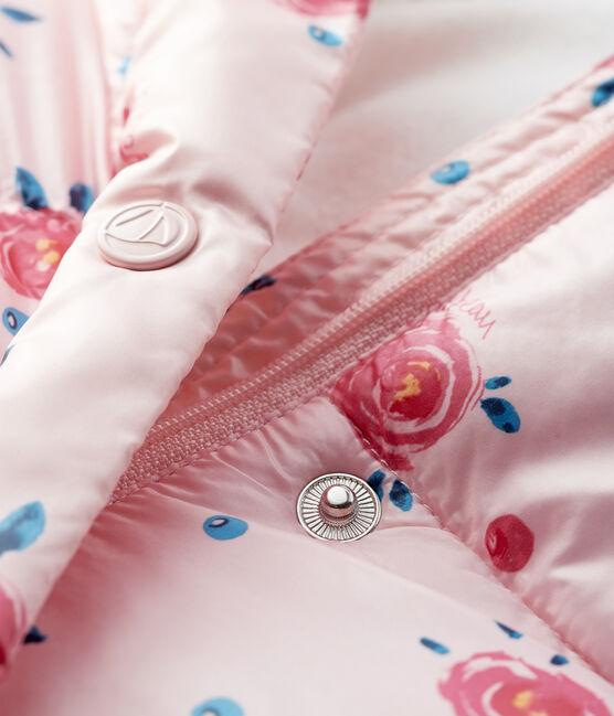 Piumino trapuntato bebè femmina rosa Minois / bianco Multico
