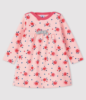 Abito a maniche lunghe da bebè femmina rosa Minois / bianco Multico