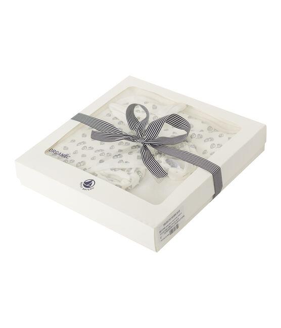 Cofanetto asciugamano quadrato da bagno e babbucce bebè in BE e a costine bianco Marshmallow / grigio Sculpture