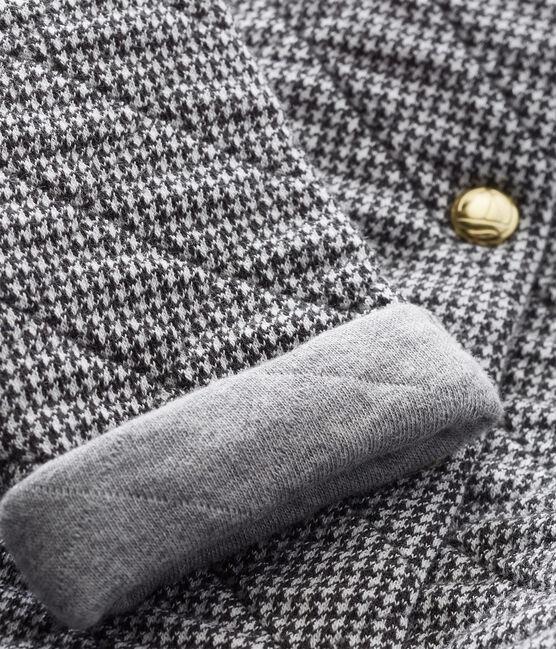 Cardigan per bebé femmina in tubique pied-de-poule grigio Capecod / bianco Marshmallow