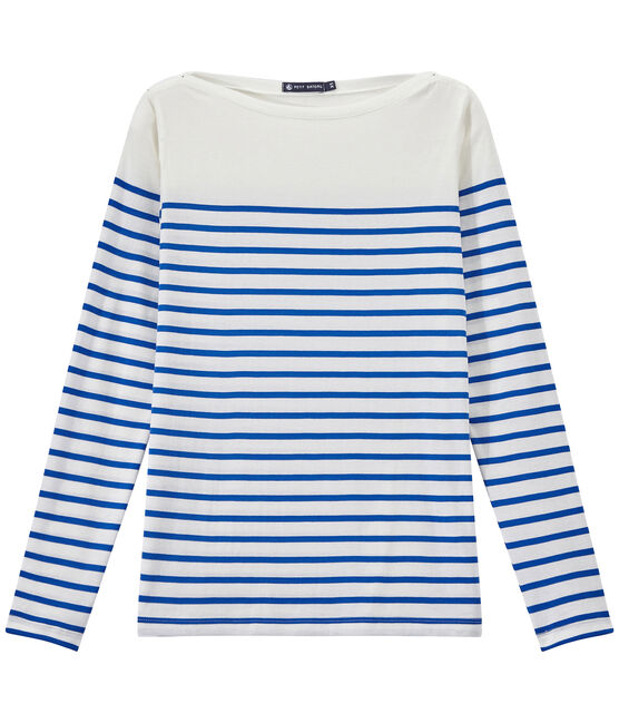 T-shirt donna a maniche lunghe a righe bianco Marshmallow / blu Perse