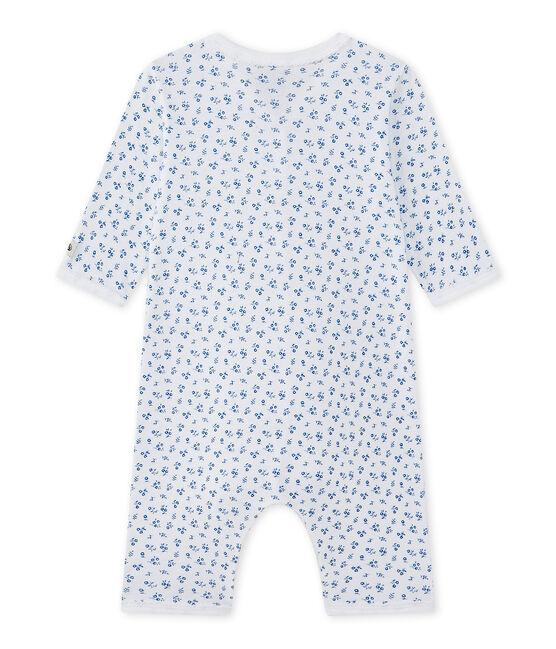 Tutina senza piedi bebè bambina bianco Ecume / blu Bleu