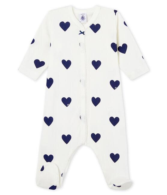 Tutina pigiama bimba-maschio a costine bianco Marshmallow / blu Medieval