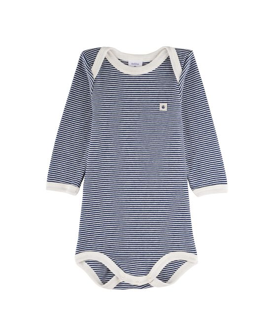 Body manica lunga bebè maschio blu Medieval / bianco Marshmallow