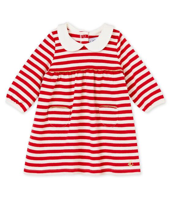 Abito rigato con colletto per bebé femmina rosso Terkuit / bianco Marshmallow