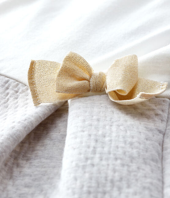 Abito bi-materiale a maniche lunghe bebè femmina bianco Marshmallow / grau Beluga